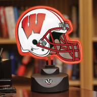 Wisconsin Badgers Neon Helmet Desk Lamp