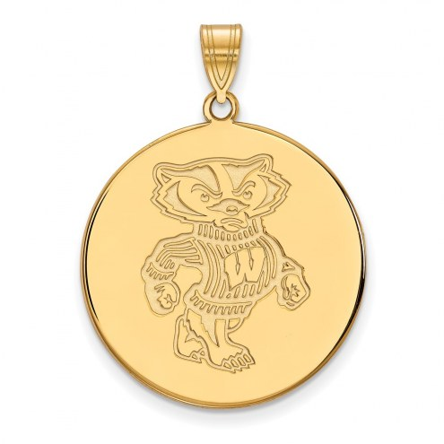 Wisconsin Badgers Sterling Silver Gold Plated Extra Large Disc Pendant