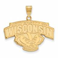 Wisconsin Badgers Sterling Silver Gold Plated Large Pendant