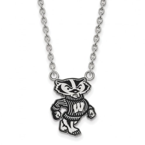 Wisconsin Badgers Sterling Silver Large Enameled Pendant Necklace