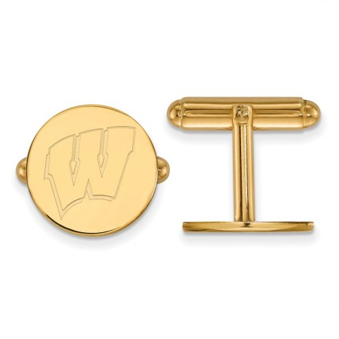 Wisconsin Badgers NCAA Sterling Silver Gold Plated Cuff Links