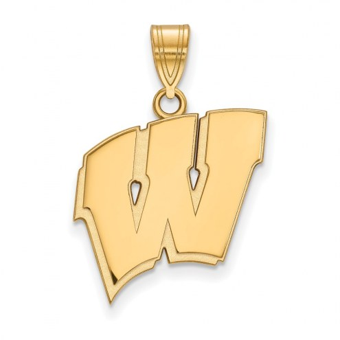 Wisconsin Badgers NCAA Sterling Silver Gold Plated Large Pendant