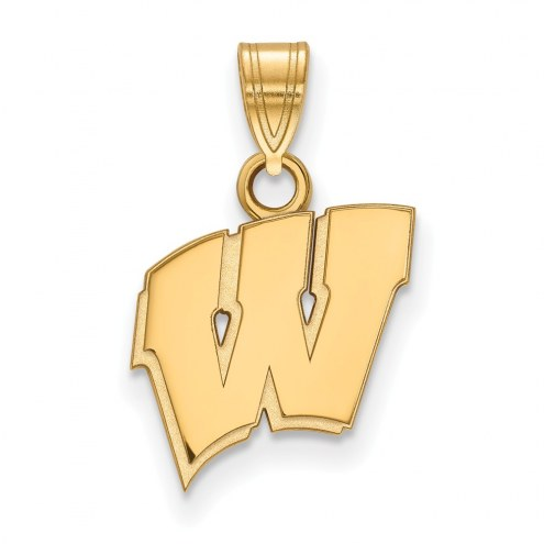 Wisconsin Badgers NCAA Sterling Silver Gold Plated Small Pendant