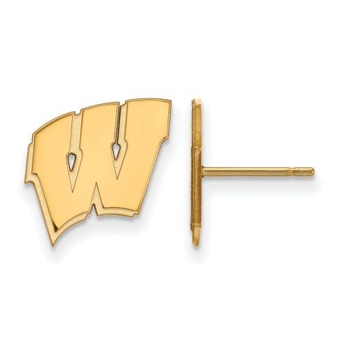 Wisconsin Badgers NCAA Sterling Silver Gold Plated Small Post Earrings