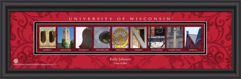 Wisconsin Badgers Personalized Campus Letter Art