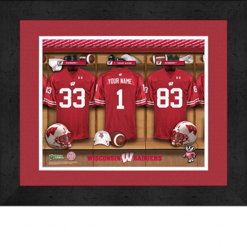 Wisconsin Badgers Personalized Locker Room 13 x 16 Framed Photograph
