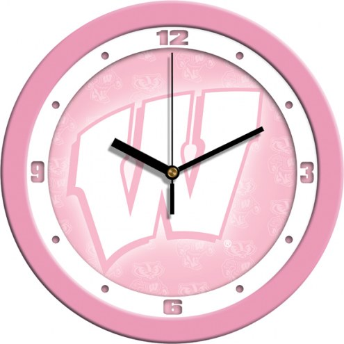 Wisconsin Badgers Pink Wall Clock