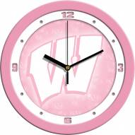 Wisconsin Badgers Pink Wall Clock