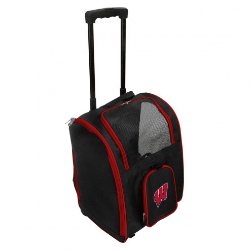Wisconsin Badgers Premium Pet Carrier with Wheels