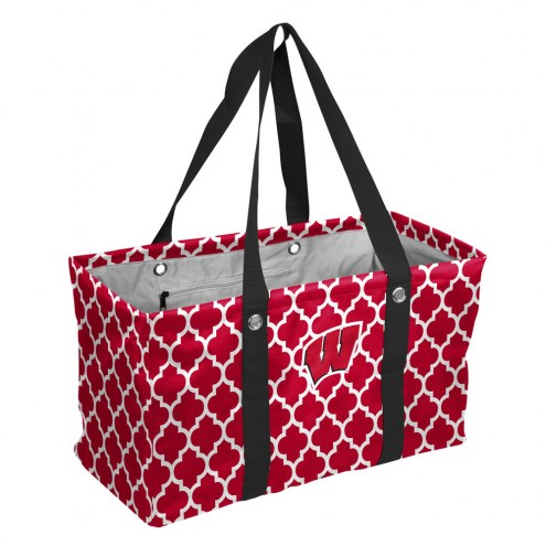Wisconsin Badgers Quatrefoil Picnic Caddy