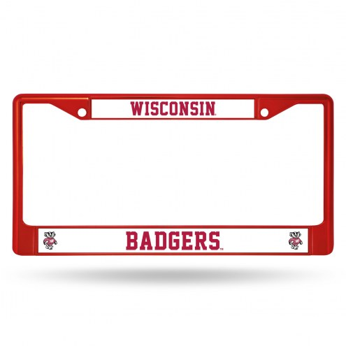 Wisconsin Badgers Red Colored Chrome License Plate Frame