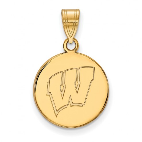 Wisconsin Badgers Sterling Silver Gold Plated Medium Disc Pendant