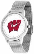 Wisconsin Badgers Silver Mesh Statement Watch