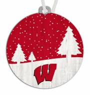 Wisconsin Badgers Snow Scene Ornament