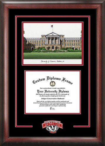 Wisconsin Badgers Spirit Diploma Frame with Campus Image