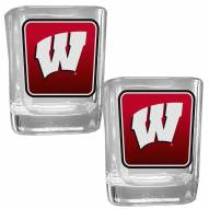 Wisconsin Badgers Square Glass Shot Glass Set