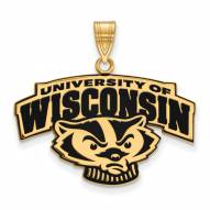 Wisconsin Badgers Sterling Silver Gold Plated Large Enameled Pendant