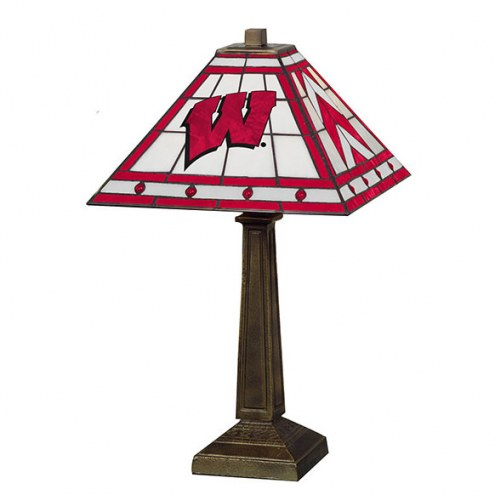 Wisconsin Badgers Stained Glass Mission Table Lamp