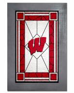 Wisconsin Badgers Stained Glass with Frame