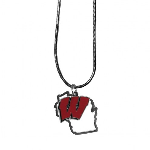 Wisconsin Badgers State Charm Necklace