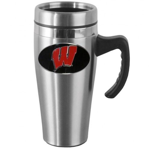 Wisconsin Badgers Steel Travel Mug w/Handle