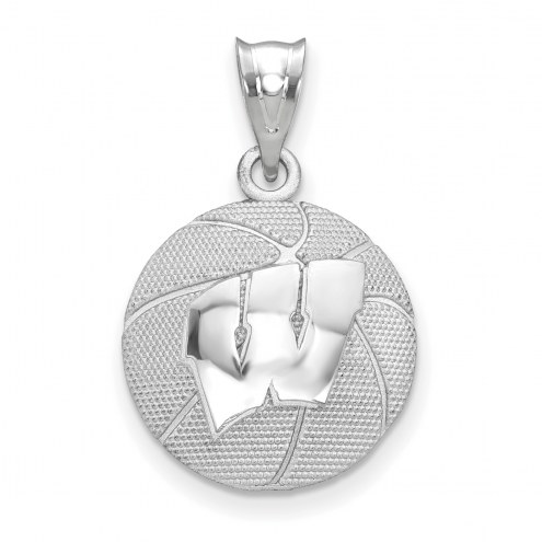 Wisconsin Badgers Sterling Silver Basketball Pendant