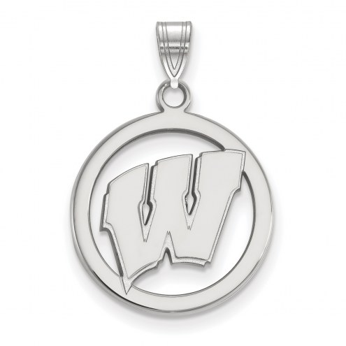 Wisconsin Badgers Sterling Silver Circle Pendant