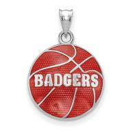 Wisconsin Badgers Sterling Silver Enameled Basketball Pendant