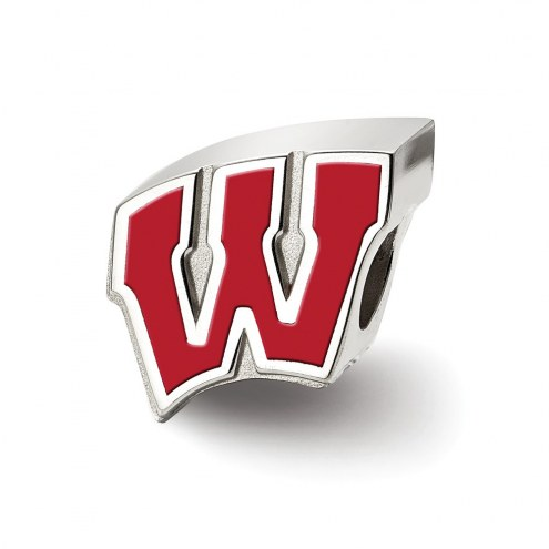 Wisconsin Badgers Sterling Silver Enameled Bead
