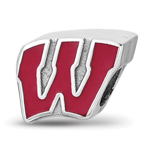Wisconsin Badgers Sterling Silver Enameled Bead