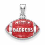 Wisconsin Badgers Sterling Silver Enameled Football Pendant