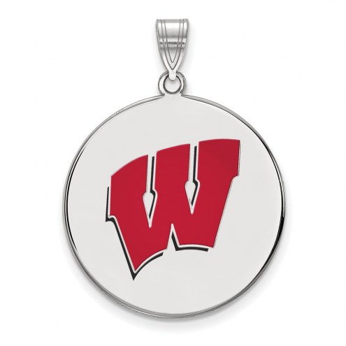 Wisconsin Badgers Sterling Silver Extra Large Enameled Disc Pendant