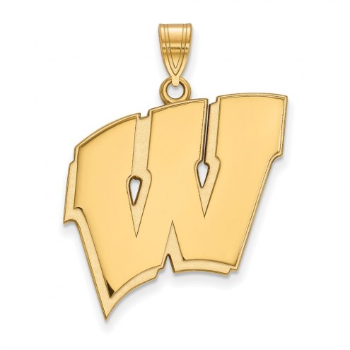 Wisconsin Badgers Sterling Silver Gold Plated Extra Large Pendant