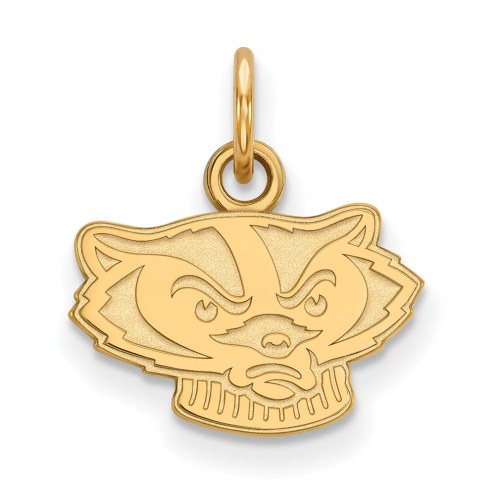 Wisconsin Badgers Sterling Silver Gold Plated Extra Small Pendant