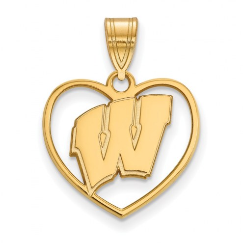 Wisconsin Badgers Sterling Silver Gold Plated Heart Pendant
