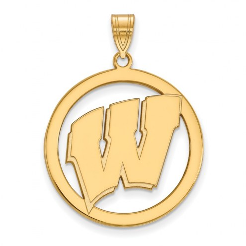 Wisconsin Badgers Sterling Silver Gold Plated Large Circle Pendant