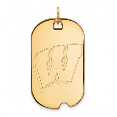 Wisconsin Badgers Sterling Silver Gold Plated Large Dog Tag