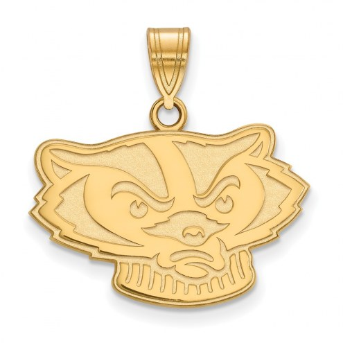 Wisconsin Badgers Sterling Silver Gold Plated Medium Pendant