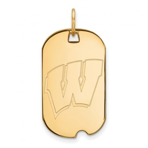 Wisconsin Badgers Sterling Silver Gold Plated Small Dog Tag