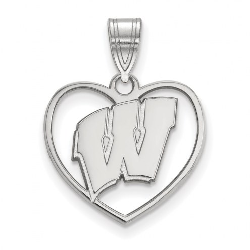 Wisconsin Badgers Sterling Silver Heart Pendant