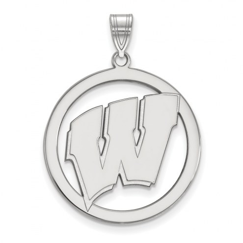 Wisconsin Badgers Sterling Silver Large Circle Pendant