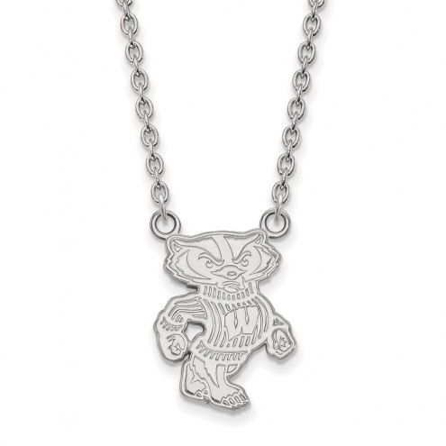 Wisconsin Badgers Sterling Silver Large Pendant Necklace