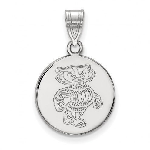 Wisconsin Badgers Sterling Silver Medium Disc Pendant