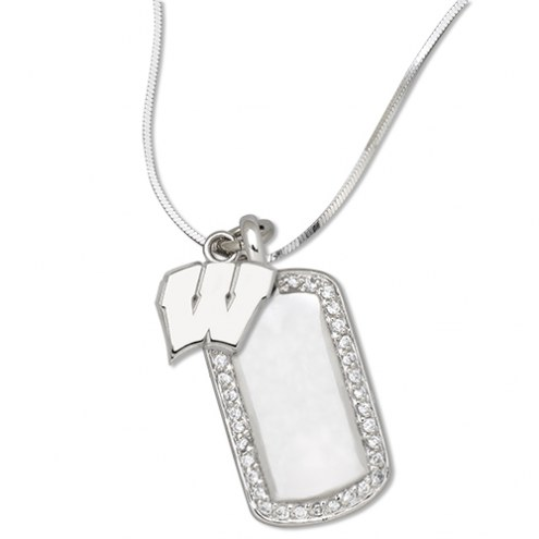 Wisconsin Badgers Sterling Silver Mini Dog Tag Pendant