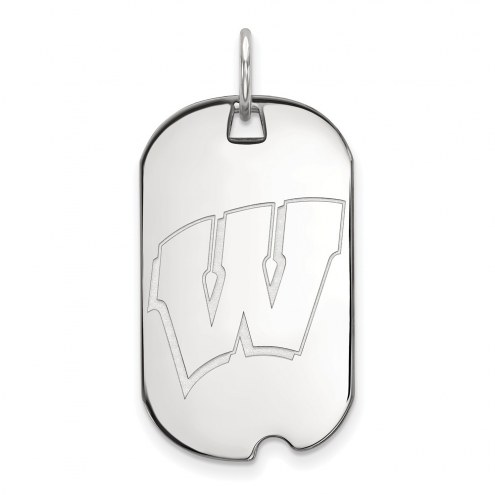 Wisconsin Badgers Sterling Silver Small Dog Tag