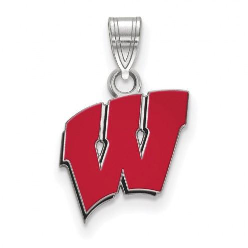 Wisconsin Badgers Sterling Silver Small Enamel Pendant