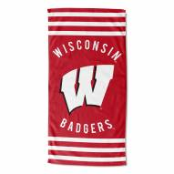 Wisconsin Badgers Stripes Beach Towel