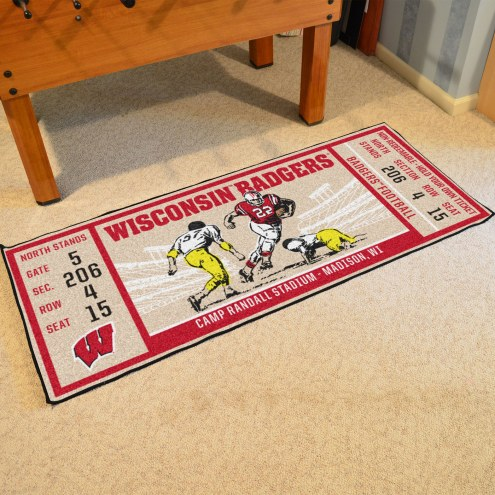 Wisconsin Badgers Ticket Runner Rug