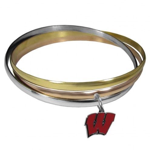 Wisconsin Badgers Tri-color Bangle Bracelet