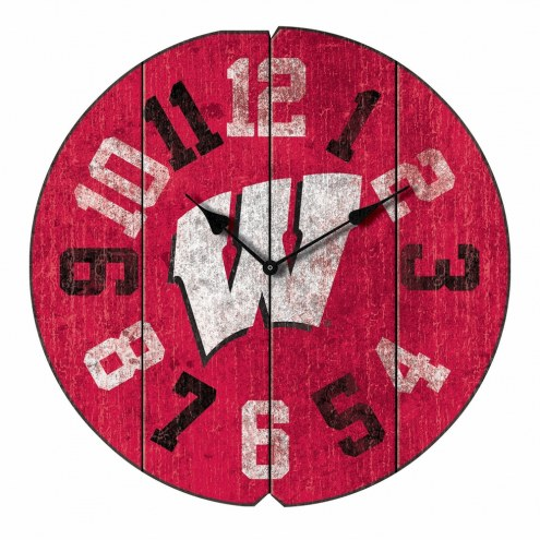 Wisconsin Badgers Vintage Round Clock